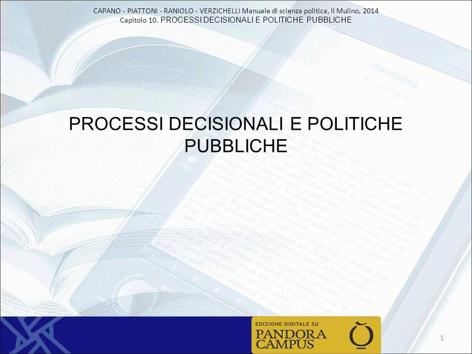 PROCESSI DECISIONALI E POLITICHE PUBBLICHE