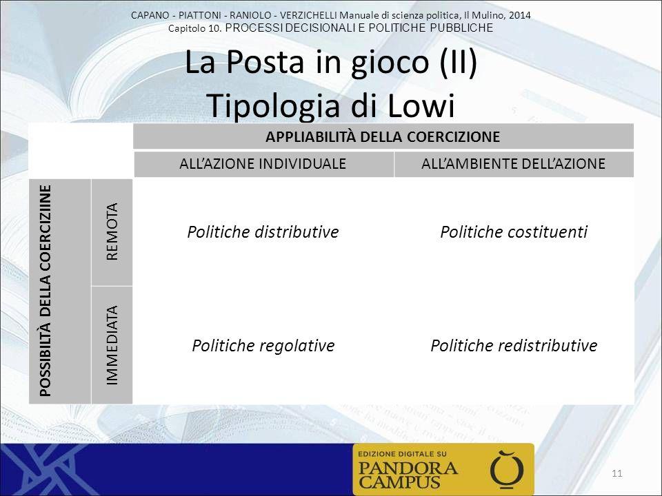 La Posta in gioco (II) Tipologia di Lowi