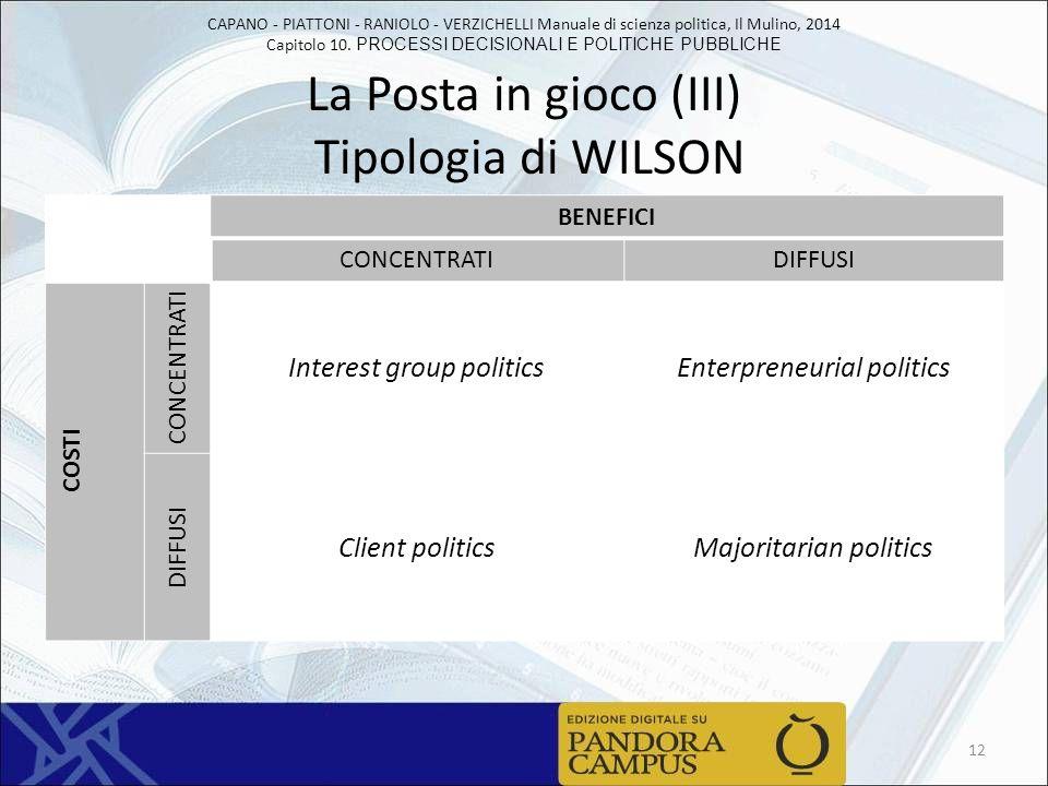 La Posta in gioco (III) Tipologia di WILSON
