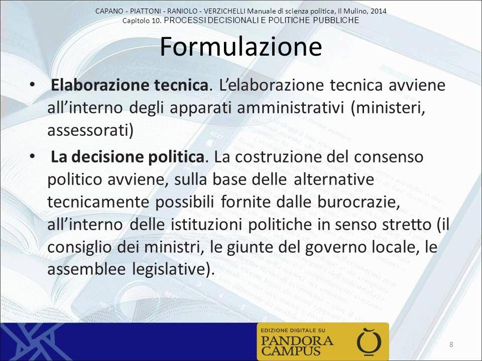 Formulazione Elaborazione tecnica. L'elaborazione tecnica avviene all'interno degli apparati amministrativi (ministeri, assessorati)