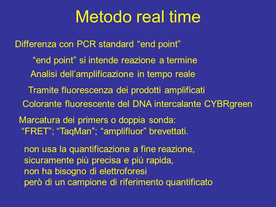 Metodo real time Differenza con PCR standard end point