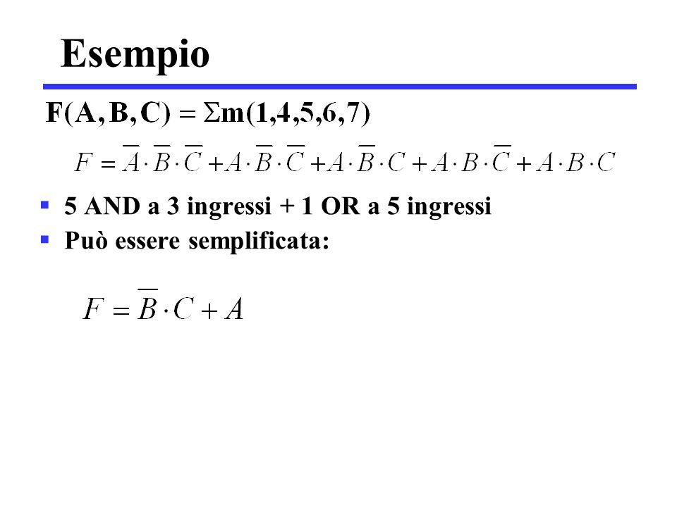 Esempio 5 AND a 3 ingressi + 1 OR a 5 ingressi