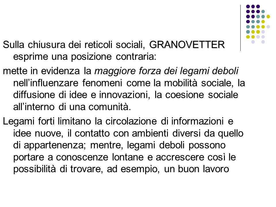 Sulla chiusura dei reticoli sociali, GRANOVETTER esprime una posizione contraria: