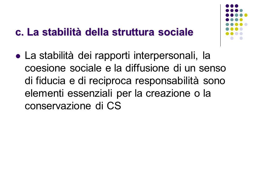 c. La stabilità della struttura sociale