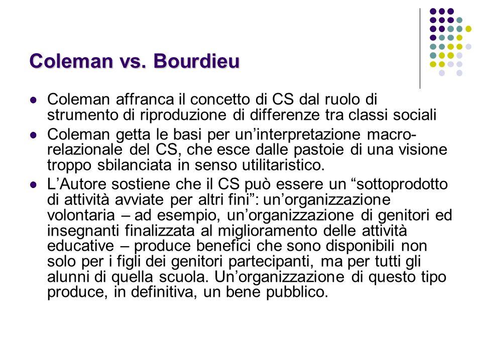 Coleman vs. Bourdieu Coleman affranca il concetto di CS dal ruolo di strumento di riproduzione di differenze tra classi sociali.
