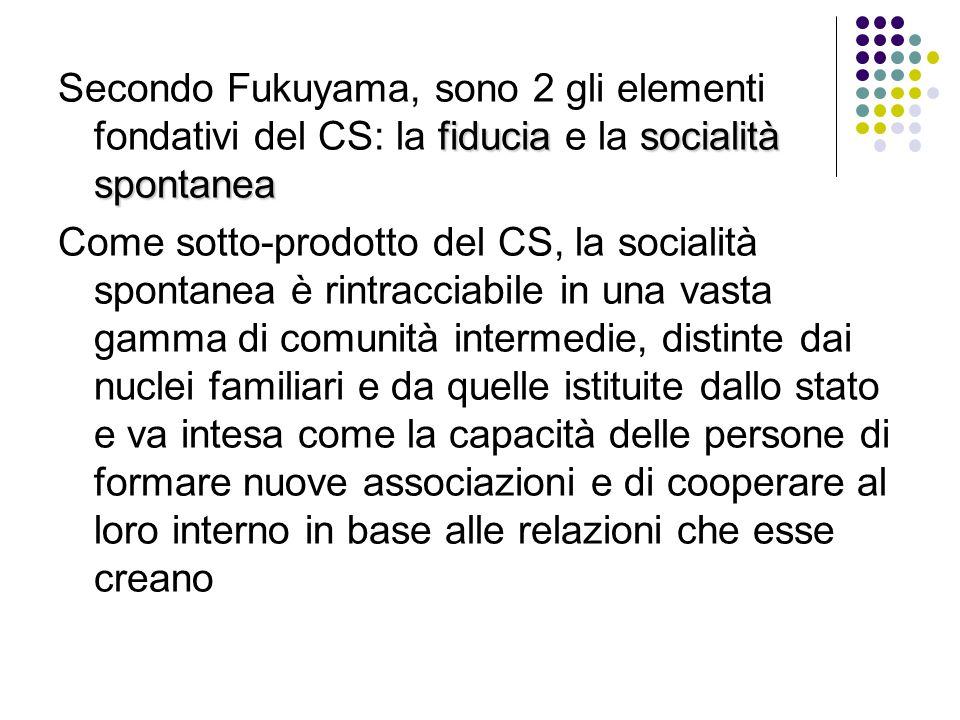 Secondo Fukuyama, sono 2 gli elementi fondativi del CS: la fiducia e la socialità spontanea