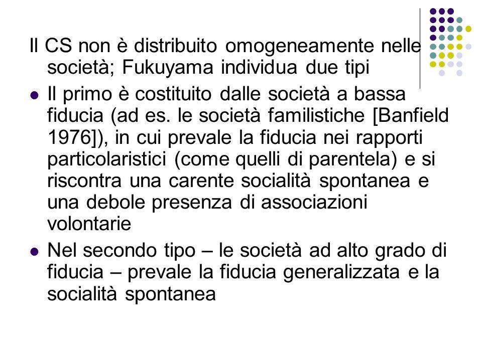 Il CS non è distribuito omogeneamente nelle società; Fukuyama individua due tipi