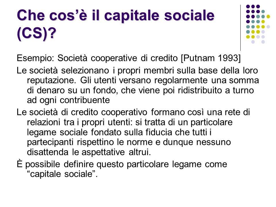 Che cos'è il capitale sociale (CS)