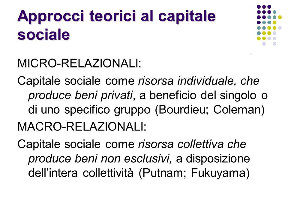 Approcci teorici al capitale sociale