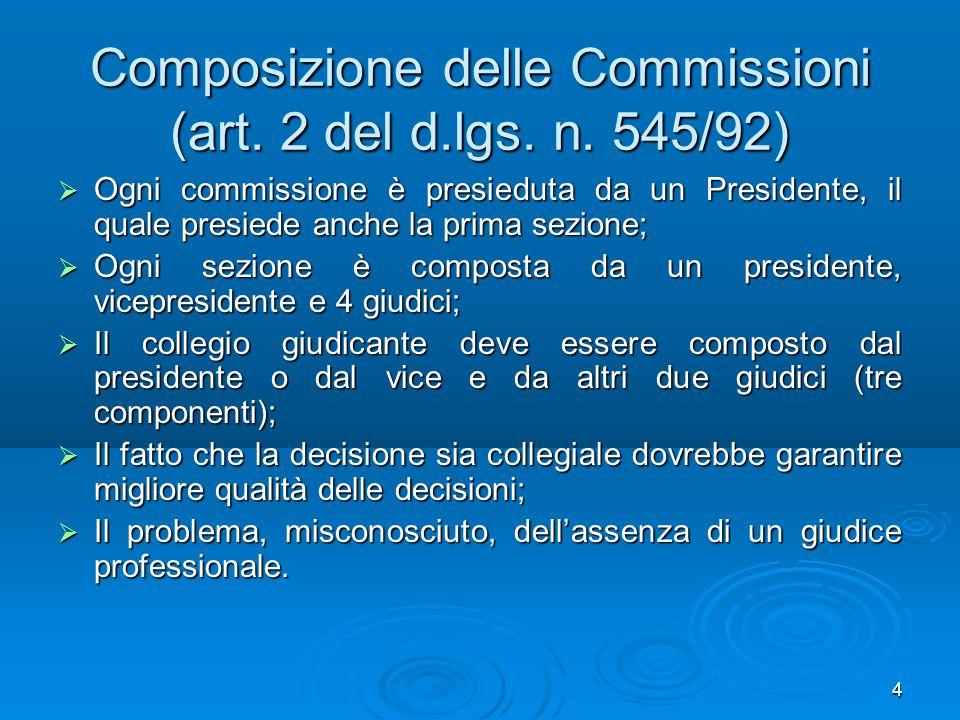 Composizione delle Commissioni (art. 2 del d.lgs. n. 545/92)