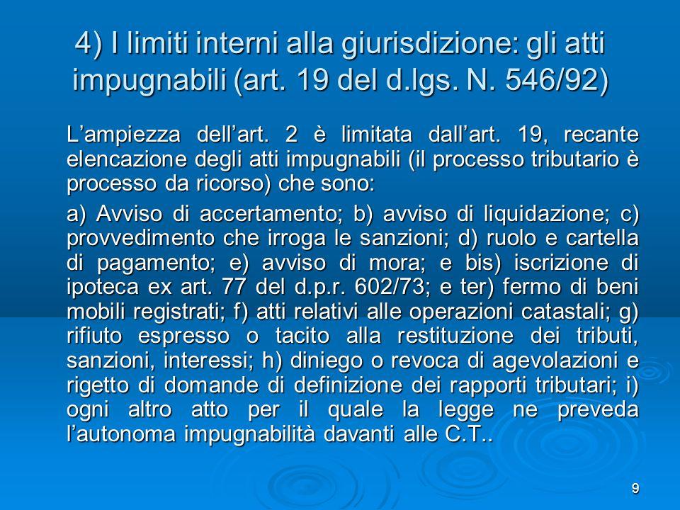 4) I limiti interni alla giurisdizione: gli atti impugnabili (art