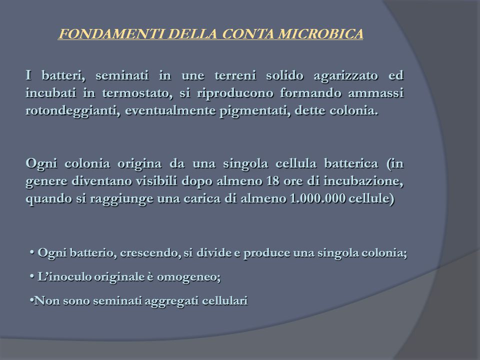 FONDAMENTI DELLA CONTA MICROBICA