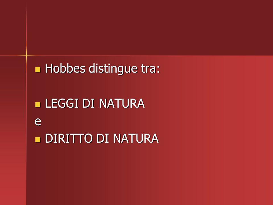 Hobbes distingue tra: LEGGI DI NATURA e DIRITTO DI NATURA