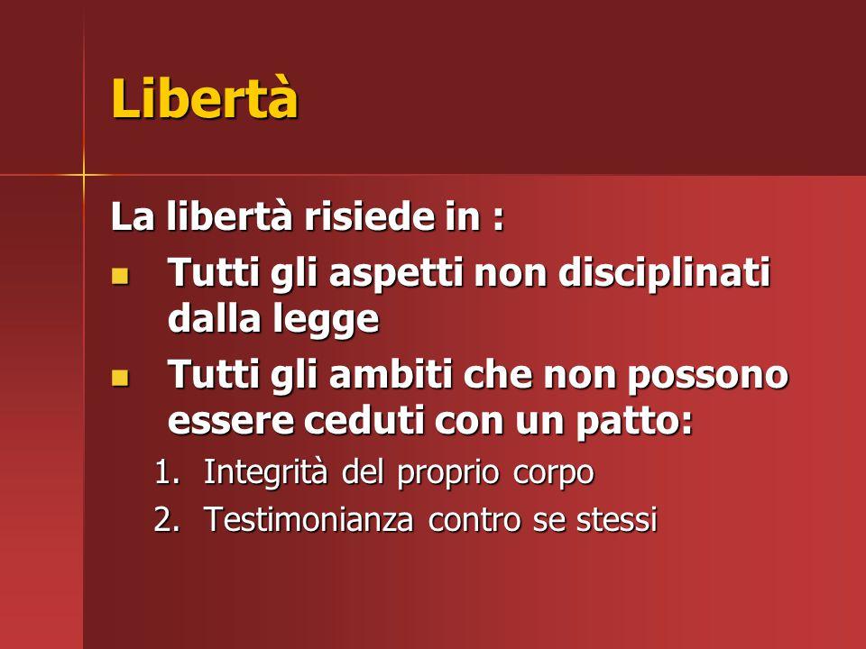 Libertà La libertà risiede in :