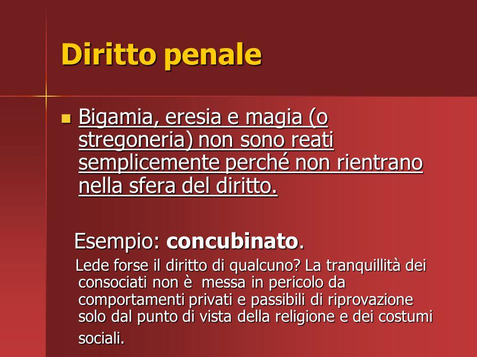 Diritto penale Bigamia, eresia e magia (o stregoneria) non sono reati semplicemente perché non rientrano nella sfera del diritto.