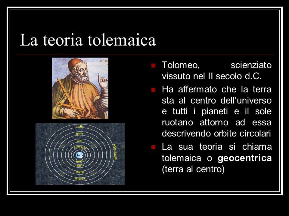 La teoria tolemaica Tolomeo, scienziato vissuto nel II secolo d.C.