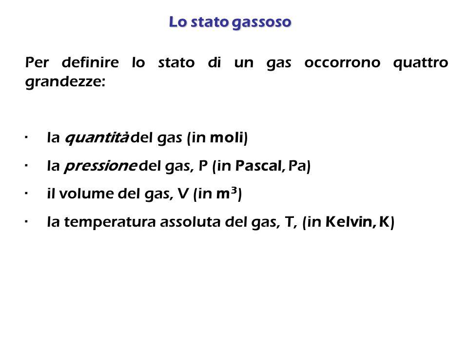 Lo stato gassoso Per definire lo stato di un gas occorrono quattro grandezze: · la quantità del gas (in moli)