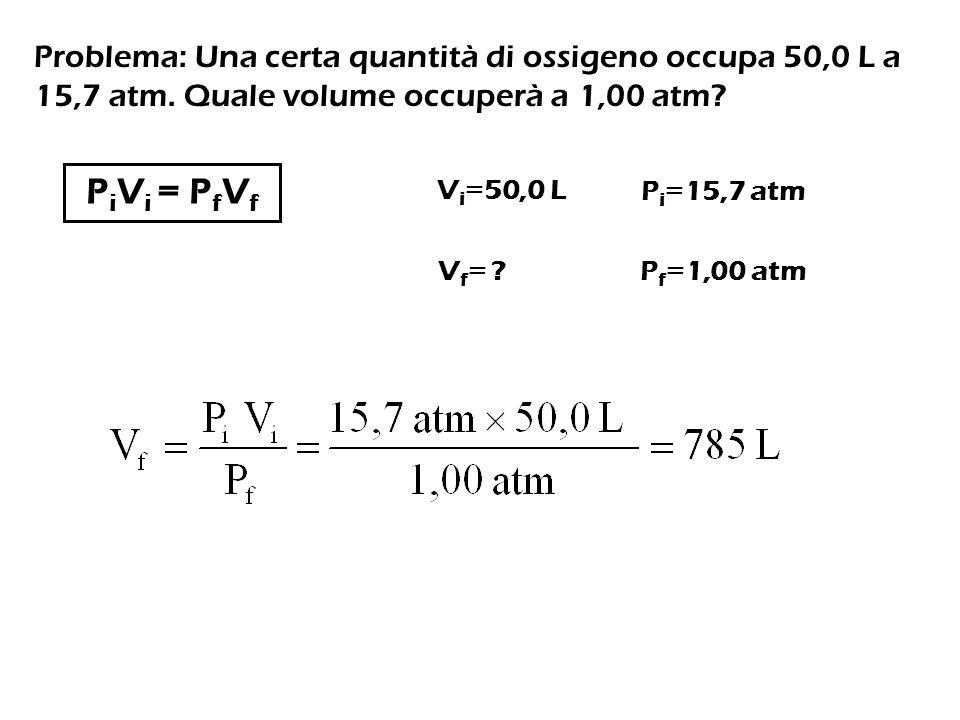 Problema: Una certa quantità di ossigeno occupa 50,0 L a 15,7 atm