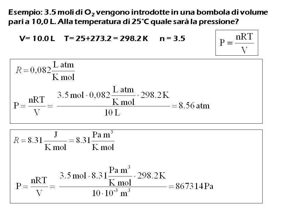 Esempio: 3.5 moli di O2 vengono introdotte in una bombola di volume pari a 10,0 L. Alla temperatura di 25°C quale sarà la pressione