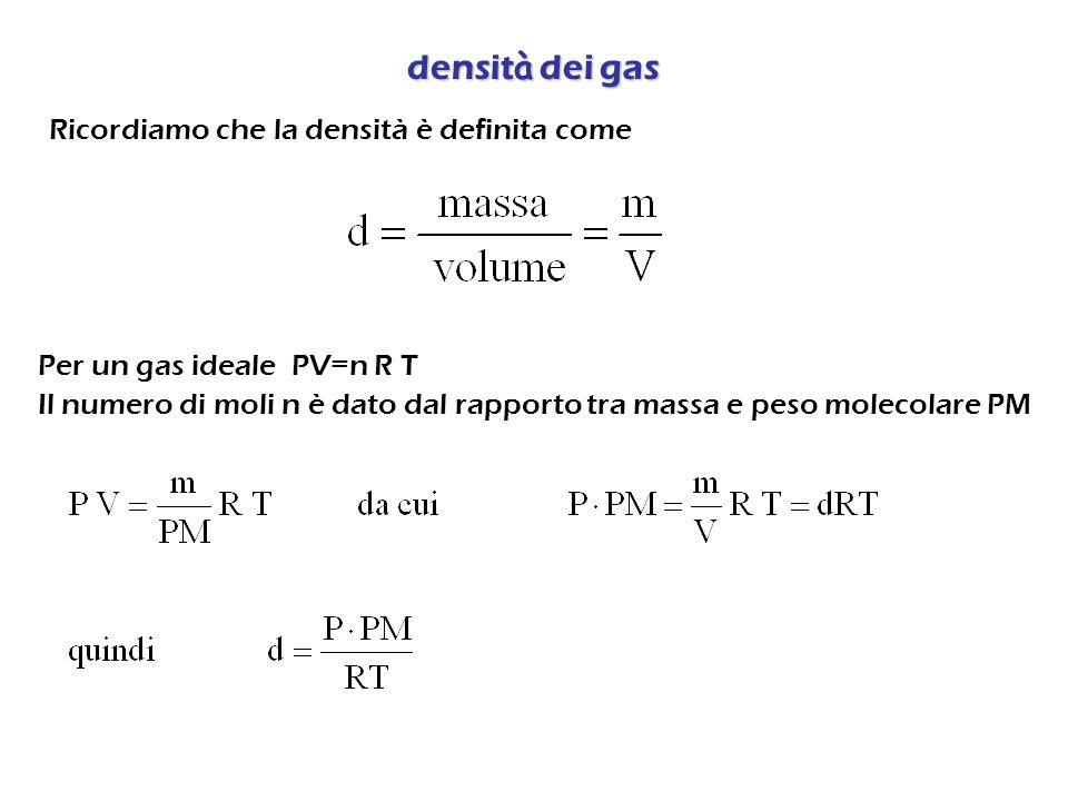 densità dei gas Ricordiamo che la densità è definita come
