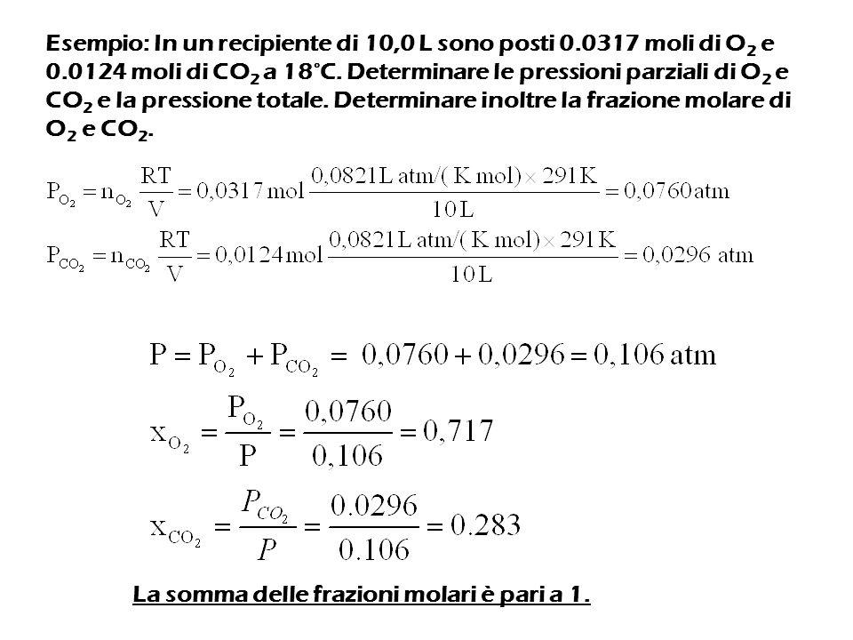 Esempio: In un recipiente di 10,0 L sono posti 0. 0317 moli di O2 e 0