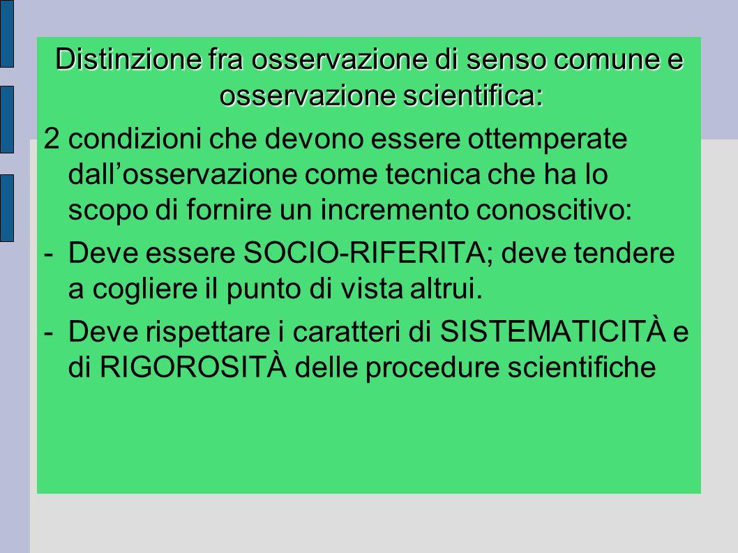 Distinzione fra osservazione di senso comune e osservazione scientifica: