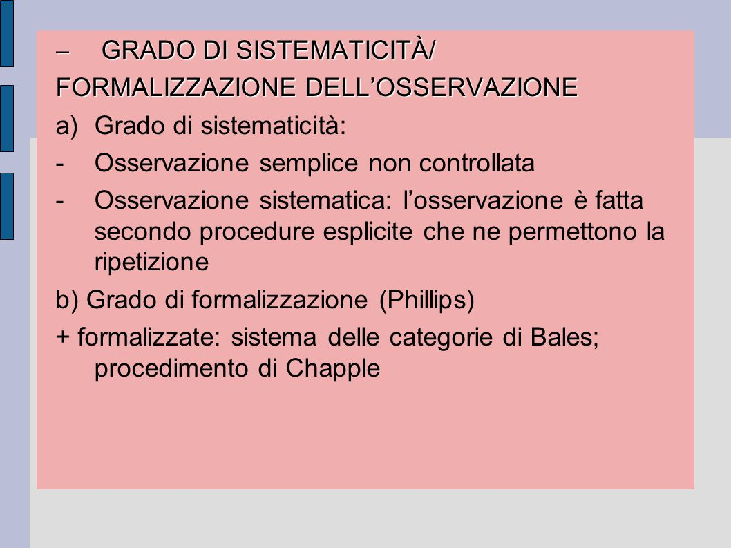 GRADO DI SISTEMATICITÀ/