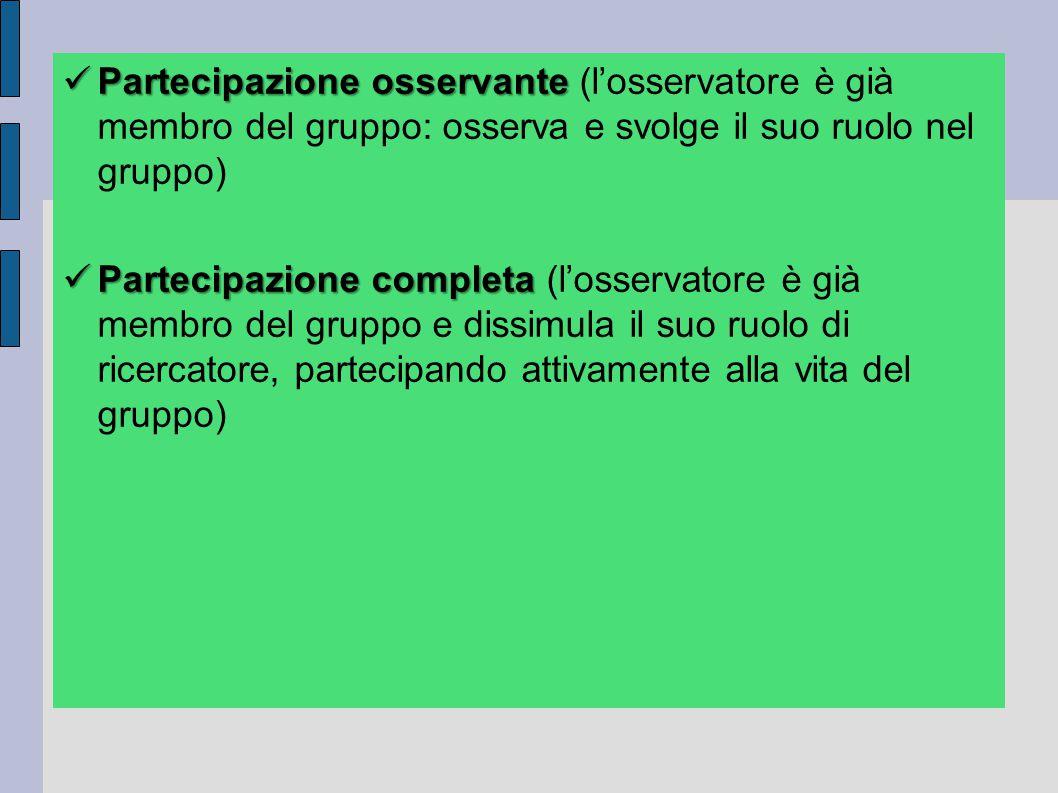 Partecipazione osservante (l'osservatore è già membro del gruppo: osserva e svolge il suo ruolo nel gruppo)