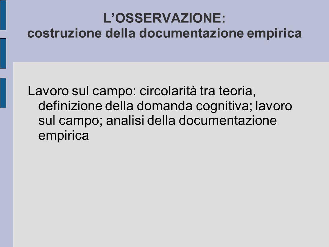 L'OSSERVAZIONE: costruzione della documentazione empirica