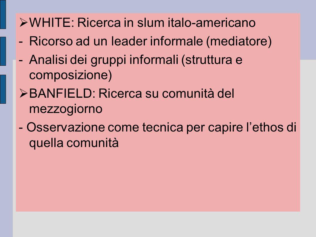 WHITE: Ricerca in slum italo-americano