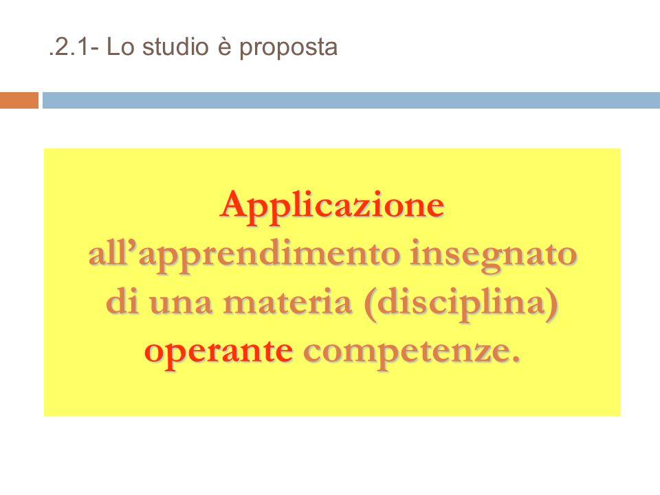 .2.1- Lo studio è proposta Applicazione all'apprendimento insegnato di una materia (disciplina) operante competenze.
