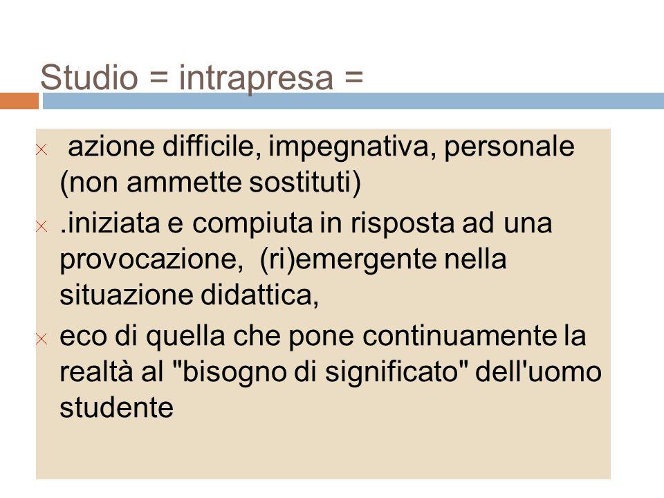 Studio = intrapresa = azione difficile, impegnativa, personale (non ammette sostituti)