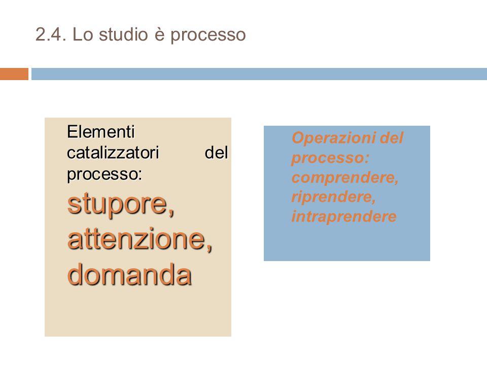 2.4. Lo studio è processo Elementi catalizzatori del processo: stupore, attenzione, domanda.