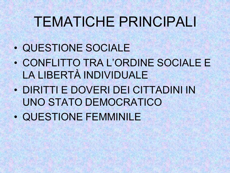 TEMATICHE PRINCIPALI QUESTIONE SOCIALE