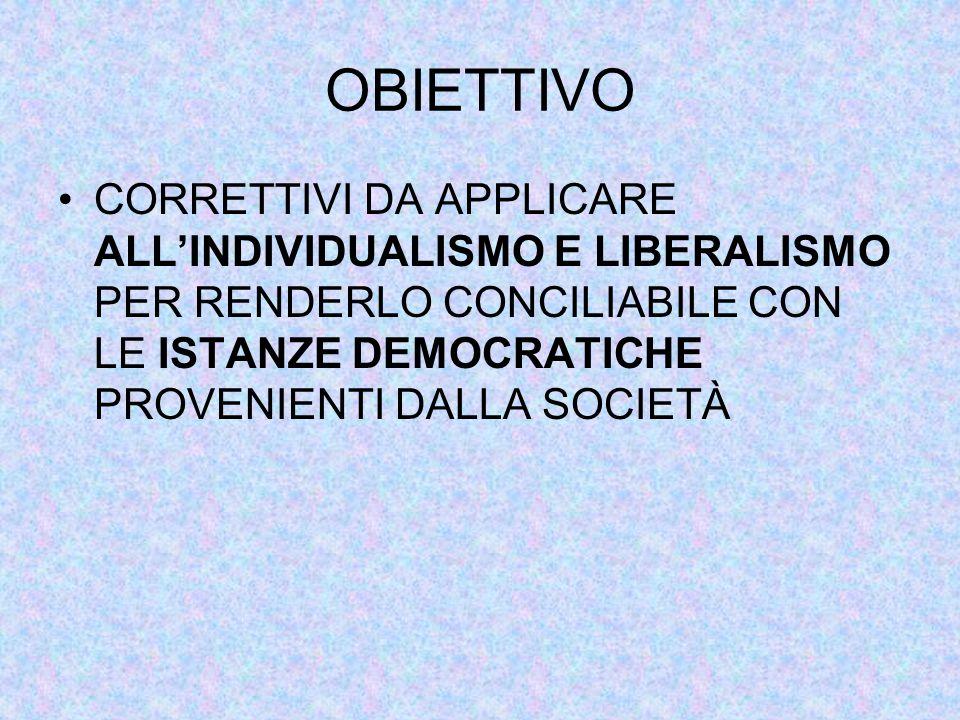 OBIETTIVO CORRETTIVI DA APPLICARE ALL'INDIVIDUALISMO E LIBERALISMO PER RENDERLO CONCILIABILE CON LE ISTANZE DEMOCRATICHE PROVENIENTI DALLA SOCIETÀ.