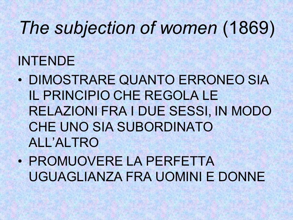 The subjection of women (1869)