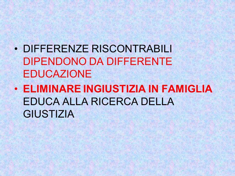 DIFFERENZE RISCONTRABILI DIPENDONO DA DIFFERENTE EDUCAZIONE