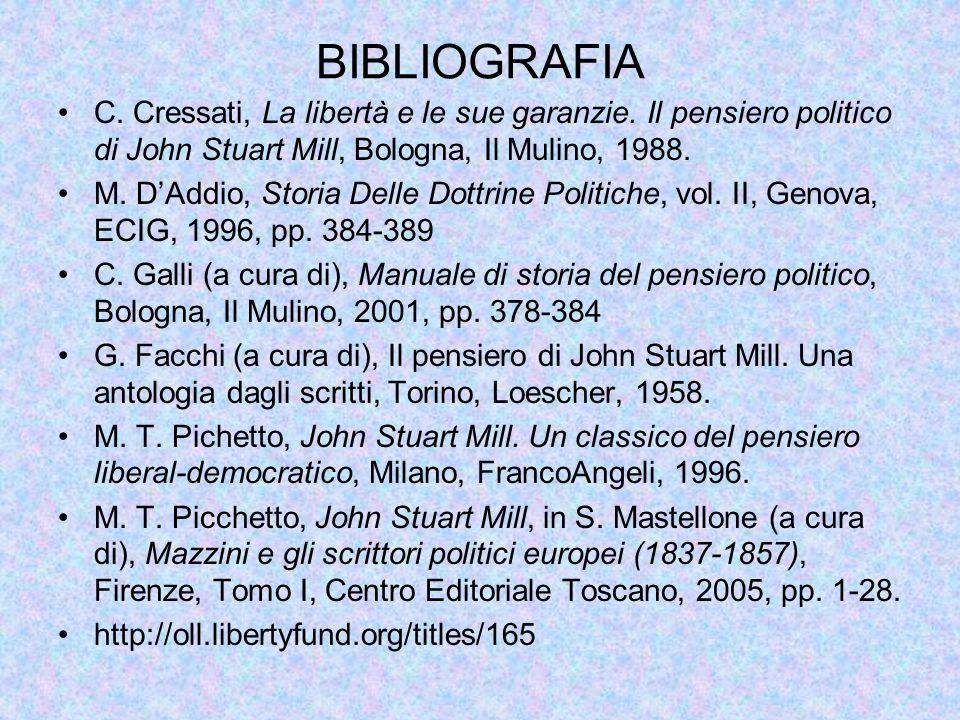 BIBLIOGRAFIA C. Cressati, La libertà e le sue garanzie. Il pensiero politico di John Stuart Mill, Bologna, Il Mulino, 1988.