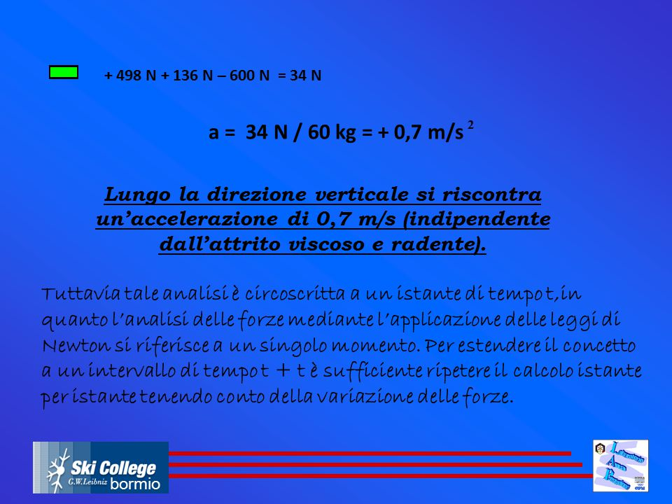 + 498 N + 136 N – 600 N = 34 N a = 34 N / 60 kg = + 0,7 m/s. 2.