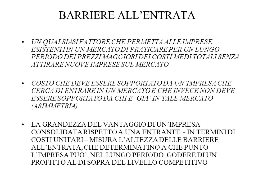 BARRIERE ALL'ENTRATA