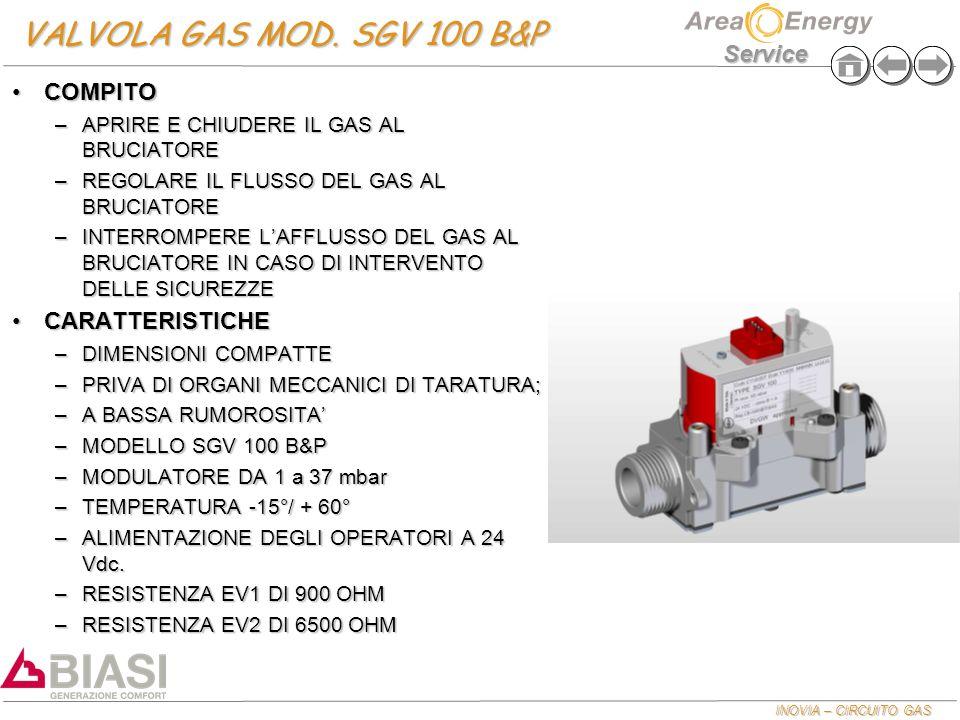 VALVOLA GAS MOD. SGV 100 B&P COMPITO CARATTERISTICHE