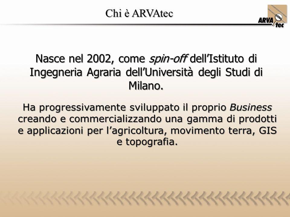 Chi è ARVAtec Nasce nel 2002, come spin-off dell'Istituto di Ingegneria Agraria dell'Università degli Studi di Milano.