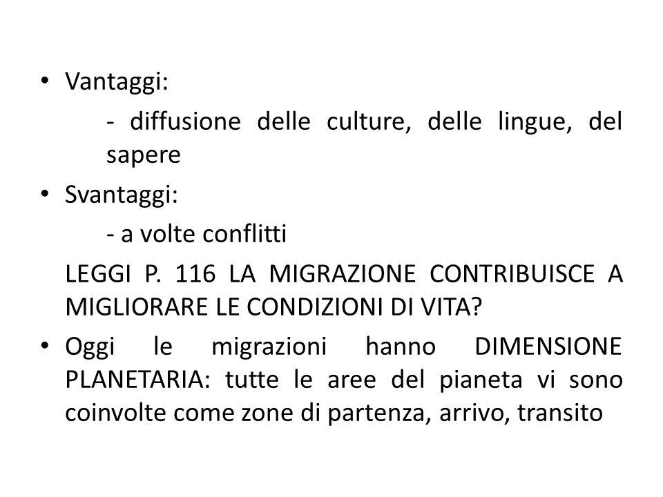 Vantaggi: - diffusione delle culture, delle lingue, del sapere. Svantaggi: - a volte conflitti.