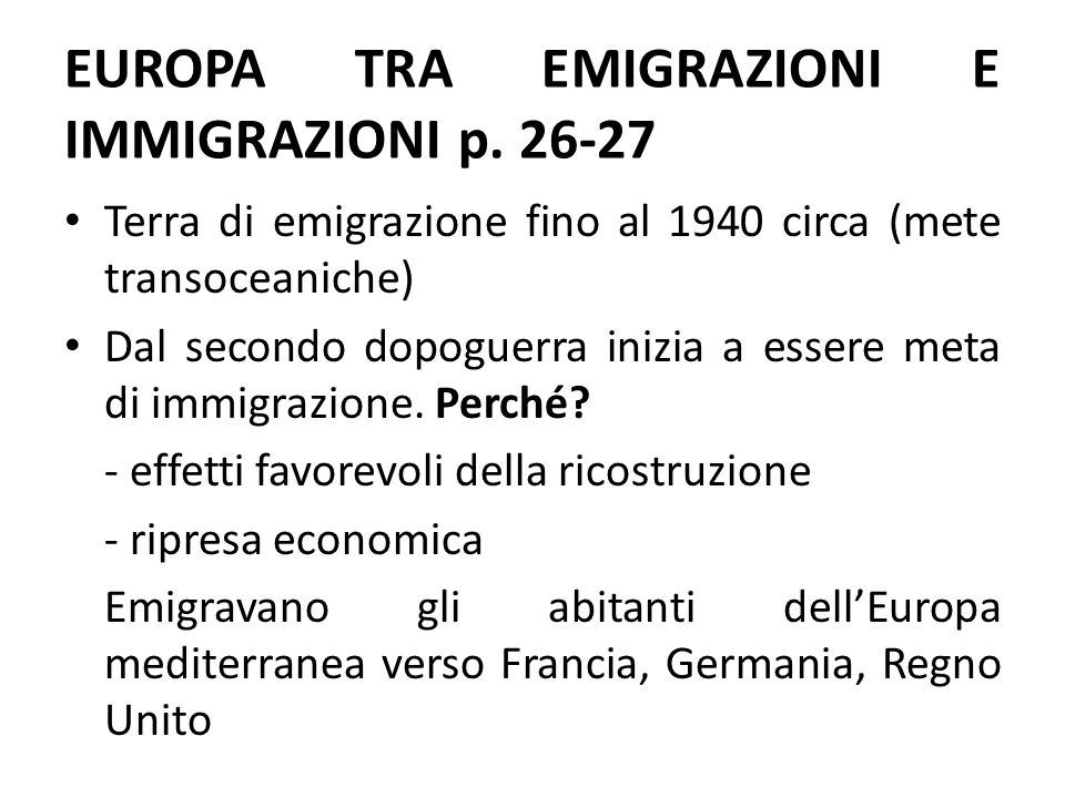 EUROPA TRA EMIGRAZIONI E IMMIGRAZIONI p. 26-27