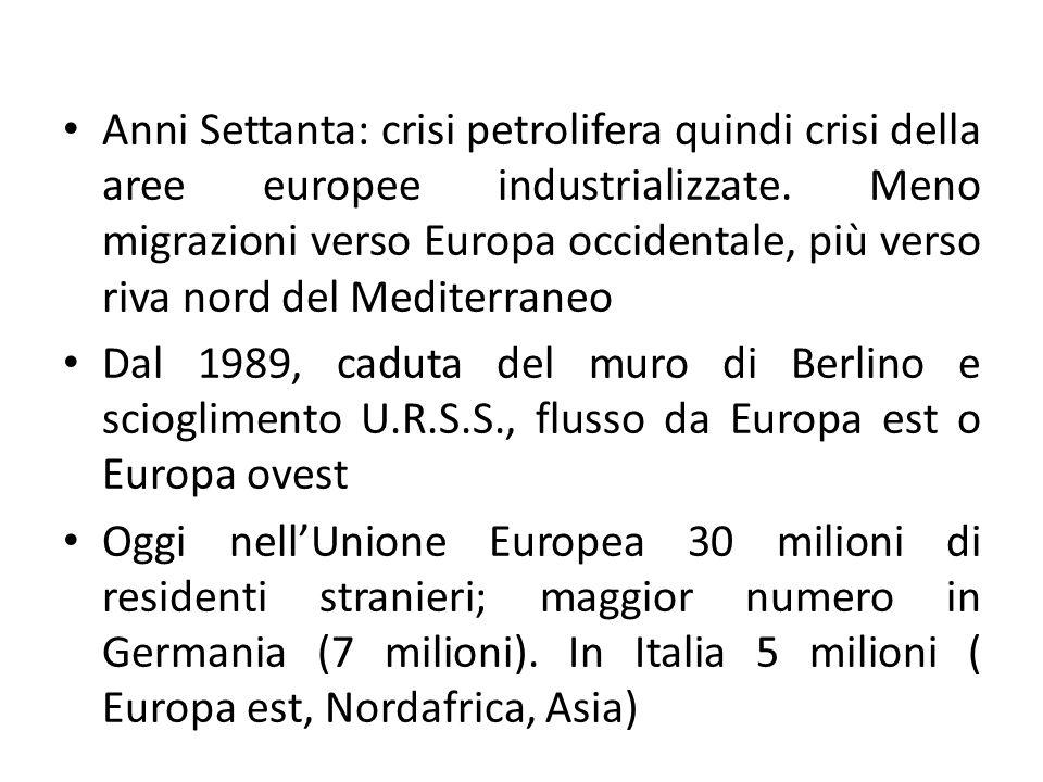 Anni Settanta: crisi petrolifera quindi crisi della aree europee industrializzate. Meno migrazioni verso Europa occidentale, più verso riva nord del Mediterraneo