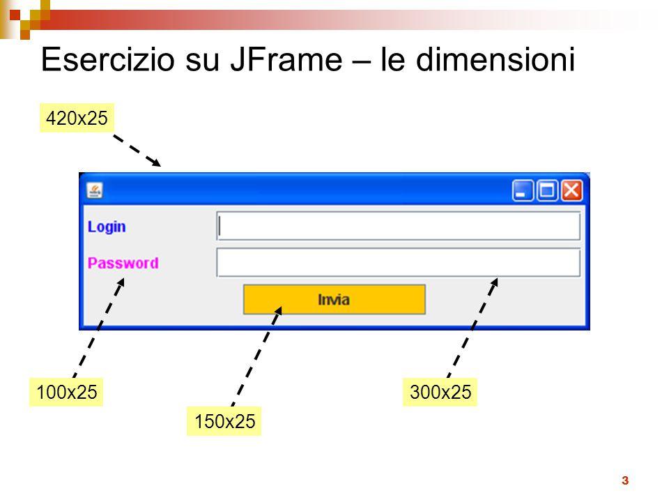 Esercizio su JFrame – le dimensioni