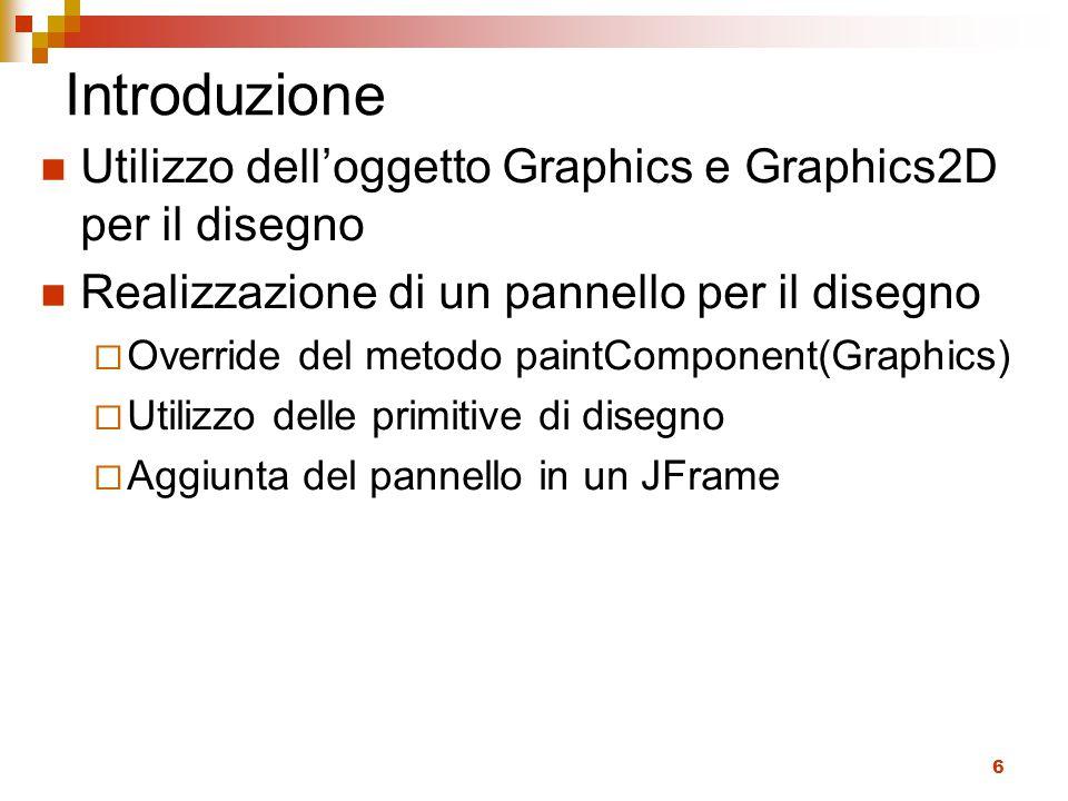 Introduzione Utilizzo dell'oggetto Graphics e Graphics2D per il disegno. Realizzazione di un pannello per il disegno.