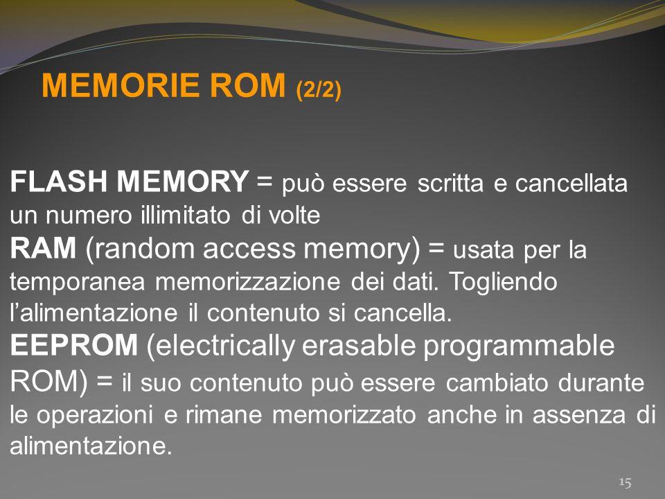 MEMORIE ROM (2/2) FLASH MEMORY = può essere scritta e cancellata un numero illimitato di volte.