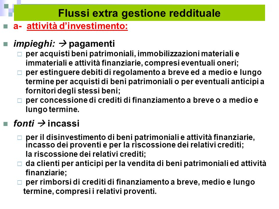 Flussi extra gestione reddituale