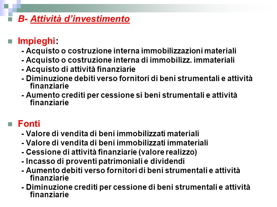B- Attività d'investimento Impieghi: